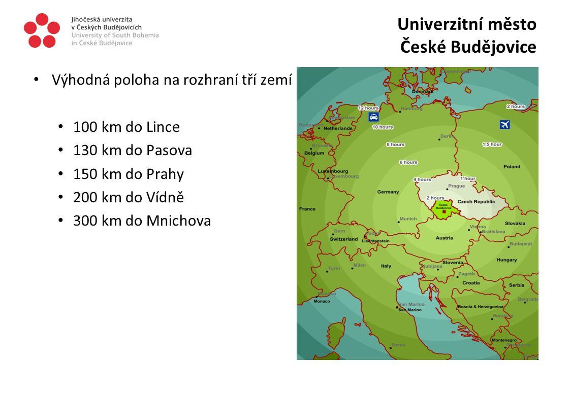 Výhodná poloha na rozhraní tří zemí 100 km do Lince 130 km do Pasova 150 km do Prahy 200 km do Vídně 300 km do Mnichova Univerzitní město České Budějo