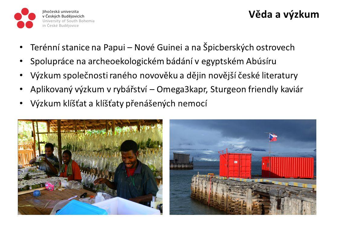 Věda a výzkum Terénní stanice na Papui – Nové Guinei a na Špicberských ostrovech Spolupráce na archeoekologickém bádání v egyptském Abúsíru Výzkum spo