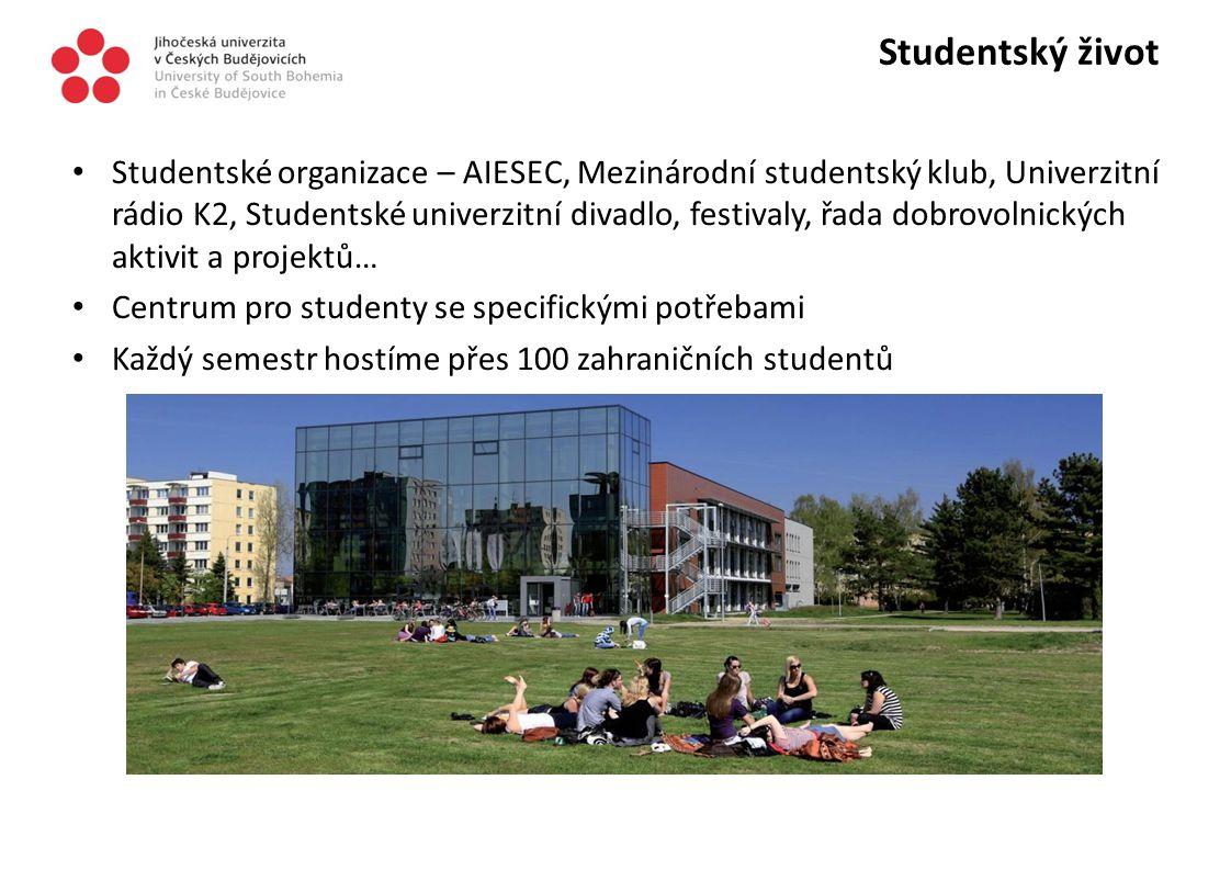 Studentský život Studentské organizace – AIESEC, Mezinárodní studentský klub, Univerzitní rádio K2, Studentské univerzitní divadlo, festivaly, řada do