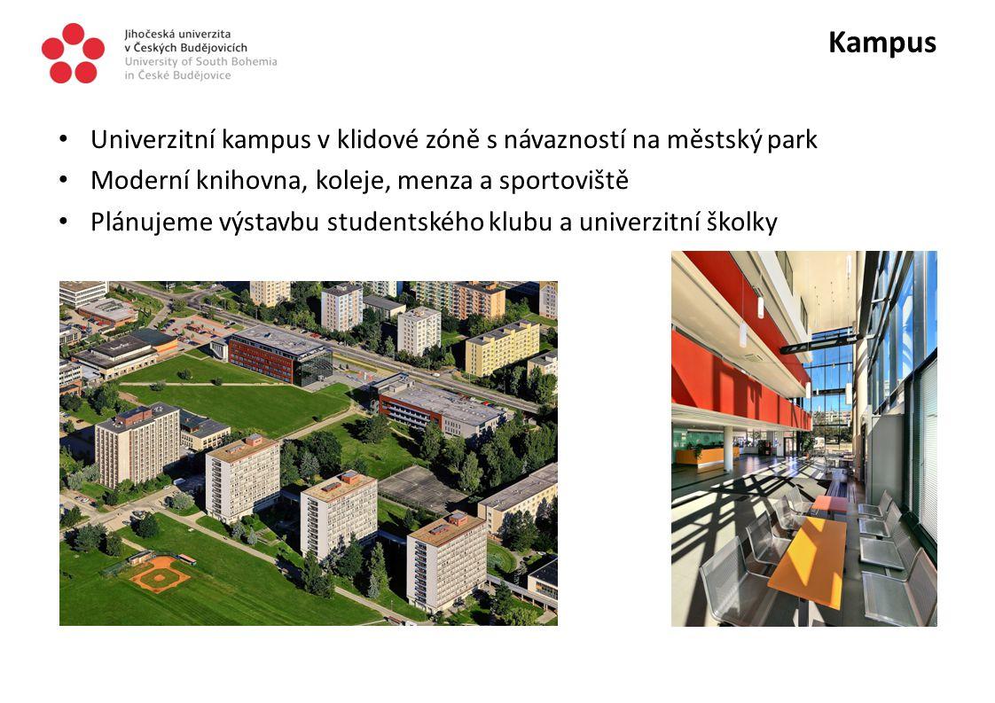 Kampus Univerzitní kampus v klidové zóně s návazností na městský park Moderní knihovna, koleje, menza a sportoviště Plánujeme výstavbu studentského kl