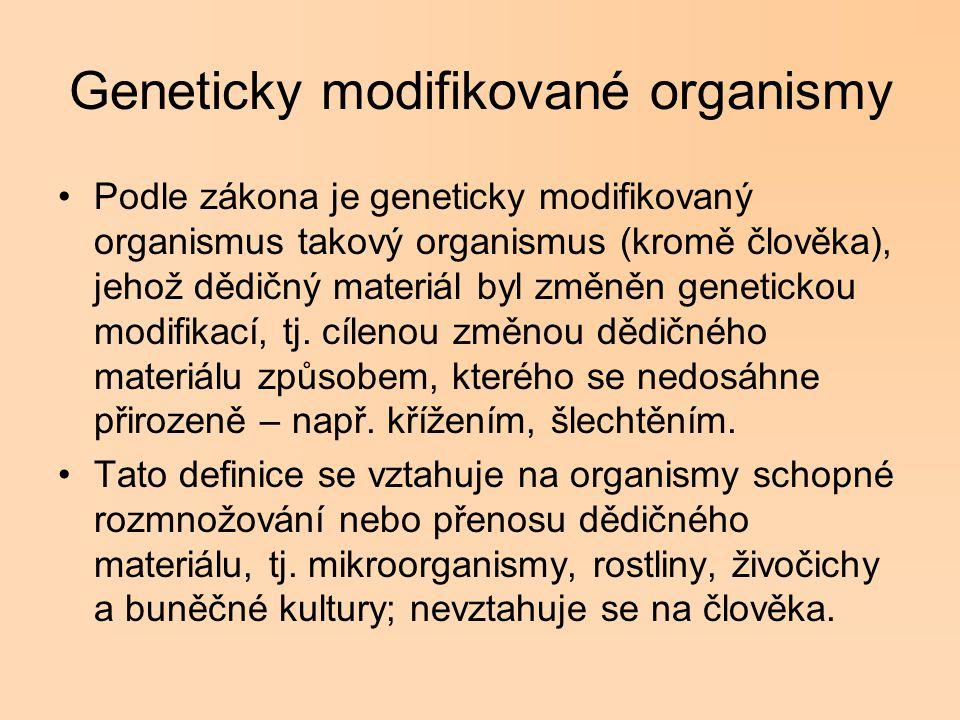 Geneticky modifikované organismy Podle zákona je geneticky modifikovaný organismus takový organismus (kromě člověka), jehož dědičný materiál byl změně