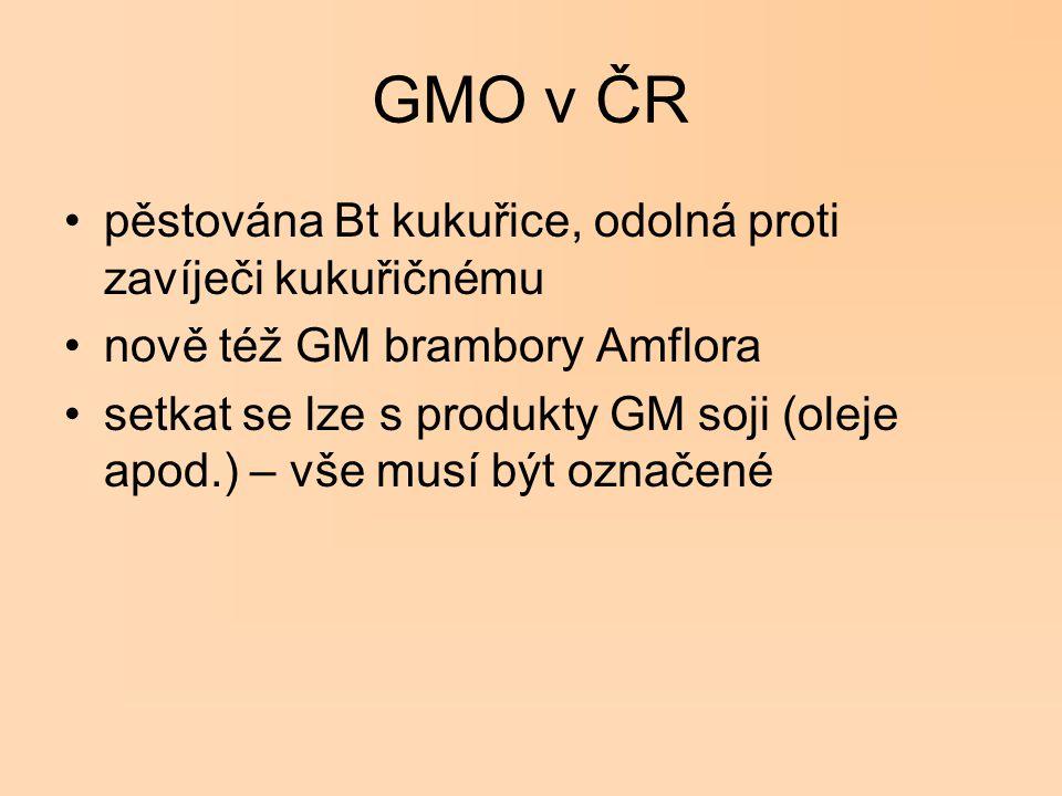 GMO v ČR pěstována Bt kukuřice, odolná proti zavíječi kukuřičnému nově též GM brambory Amflora setkat se lze s produkty GM soji (oleje apod.) – vše mu