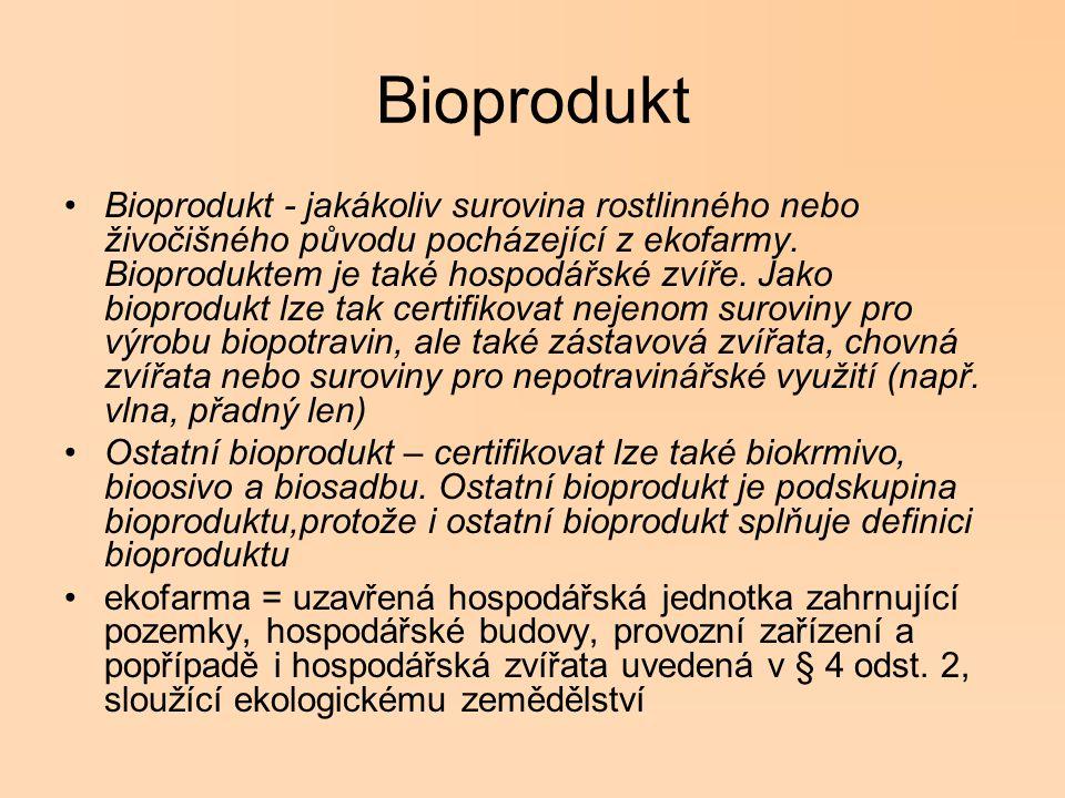 Bioprodukt Bioprodukt - jakákoliv surovina rostlinného nebo živočišného původu pocházející z ekofarmy. Bioproduktem je také hospodářské zvíře. Jako bi