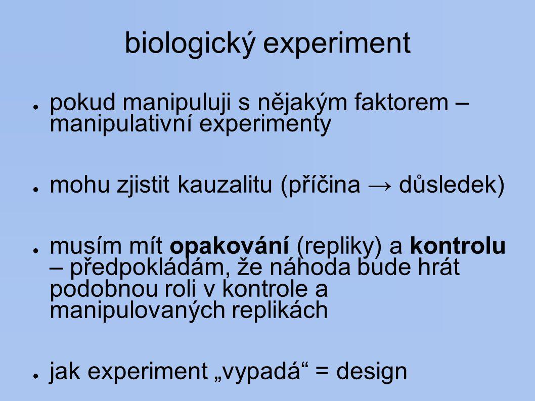 """biologický experiment ● pokud manipuluji s nějakým faktorem – manipulativní experimenty ● mohu zjistit kauzalitu (příčina → důsledek) ● musím mít opakování (repliky) a kontrolu – předpokládám, že náhoda bude hrát podobnou roli v kontrole a manipulovaných replikách ● jak experiment """"vypadá = design"""