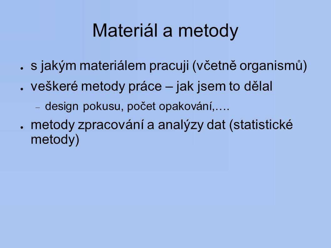 Materiál a metody ● s jakým materiálem pracuji (včetně organismů) ● veškeré metody práce – jak jsem to dělal  design pokusu, počet opakování,….