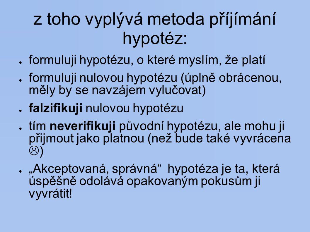 """z toho vyplývá metoda příjímání hypotéz: ● formuluji hypotézu, o které myslím, že platí ● formuluji nulovou hypotézu (úplně obrácenou, měly by se navzájem vylučovat) ● falzifikuji nulovou hypotézu ● tím neverifikuji původní hypotézu, ale mohu ji přijmout jako platnou (než bude také vyvrácena  ) ● """"Akceptovaná, správná hypotéza je ta, která úspěšně odolává opakovaným pokusům ji vyvrátit!"""