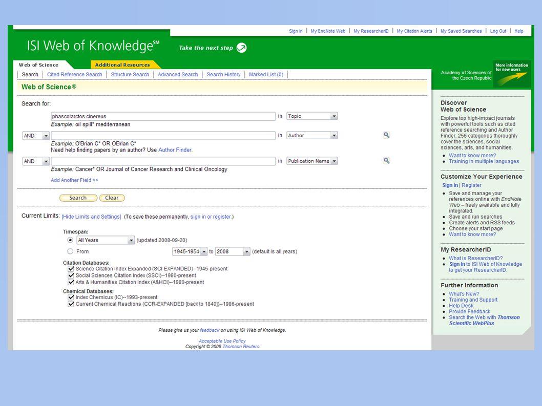 elektronické databáze a) nalezení pramene ● standardní hledání – Google apod.