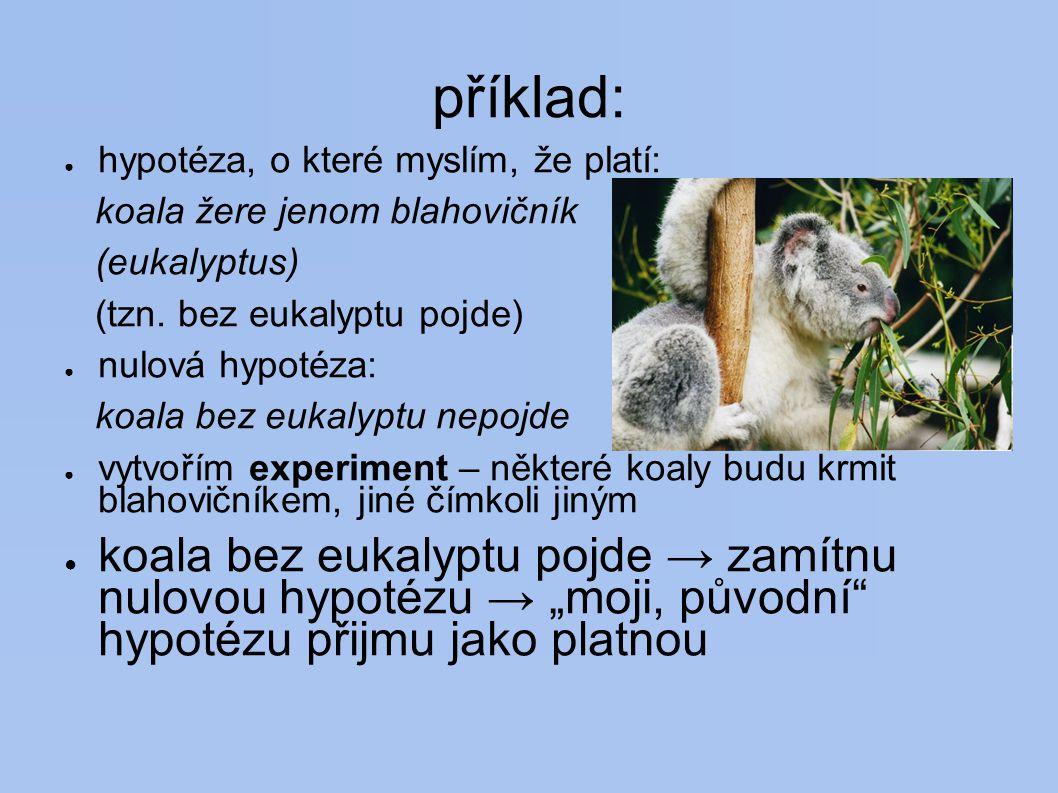 příklad: ● hypotéza, o které myslím, že platí: koala žere jenom blahovičník (eukalyptus) (tzn.