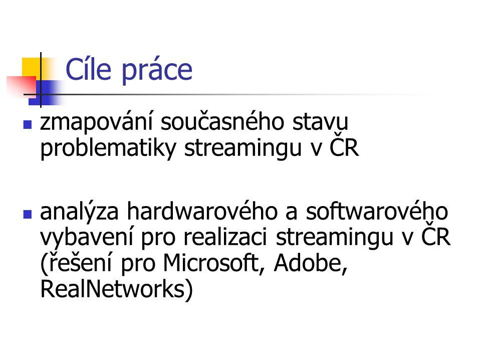 Cíle práce zmapování současného stavu problematiky streamingu v ČR analýza hardwarového a softwarového vybavení pro realizaci streamingu v ČR (řešení pro Microsoft, Adobe, RealNetworks)