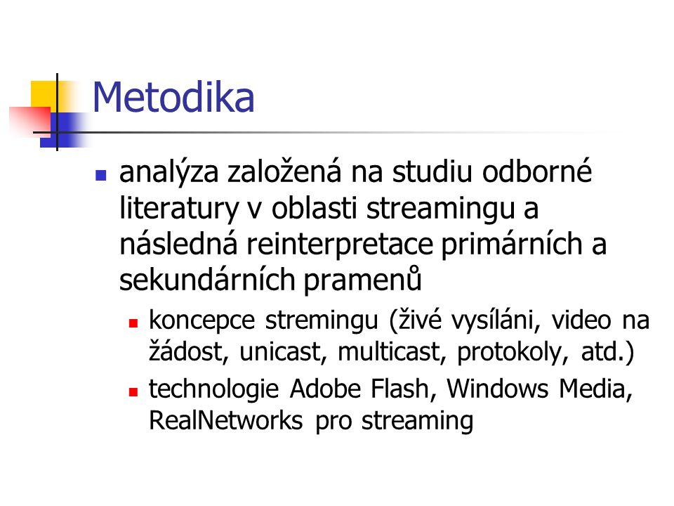 Metodika analýza založená na studiu odborné literatury v oblasti streamingu a následná reinterpretace primárních a sekundárních pramenů koncepce stremingu (živé vysíláni, video na žádost, unicast, multicast, protokoly, atd.) technologie Adobe Flash, Windows Media, RealNetworks pro streaming