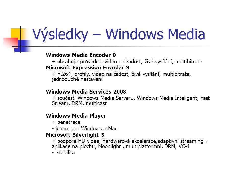 Výsledky – Windows Media Windows Media Encoder 9 + obsahuje průvodce, video na žádost, živé vysílání, multibitrate Microsoft Expression Encoder 3 + H.264, profily, video na žádost, živé vysílání, multibitrate, jednoduché nastavení Windows Media Services 2008 + součástí Windows Media Serveru, Windows Media Inteligent, Fast Stream, DRM, multicast Windows Media Player + penetrace - jenom pro Windows a Mac Microsoft Silverlight 3 + podpora HD videa, hardwarová akcelerace,adaptivní streaming, aplikace na plochu, Moonlight, multiplatformni, DRM, VC-1 - stabilita