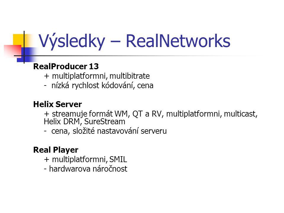 Výsledky – RealNetworks RealProducer 13 + multiplatformni, multibitrate - nízká rychlost kódování, cena Helix Server + streamuje formát WM, QT a RV, multiplatformni, multicast, Helix DRM, SureStream - cena, složité nastavování serveru Real Player + multiplatformni, SMIL - hardwarova náročnost