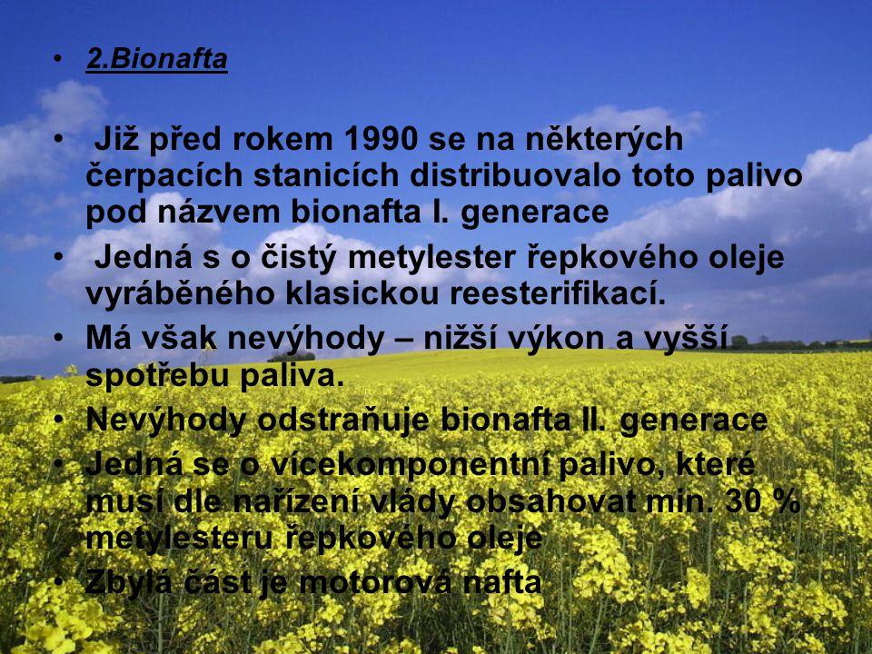 2.Bionafta Již před rokem 1990 se na některých čerpacích stanicích distribuovalo toto palivo pod názvem bionafta I. generace Jedná s o čistý metyleste