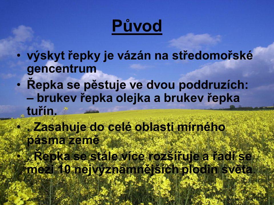 Původ výskyt řepky je vázán na středomořské gencentrum Řepka se pěstuje ve dvou poddruzích: – brukev řepka olejka a brukev řepka tuřín..