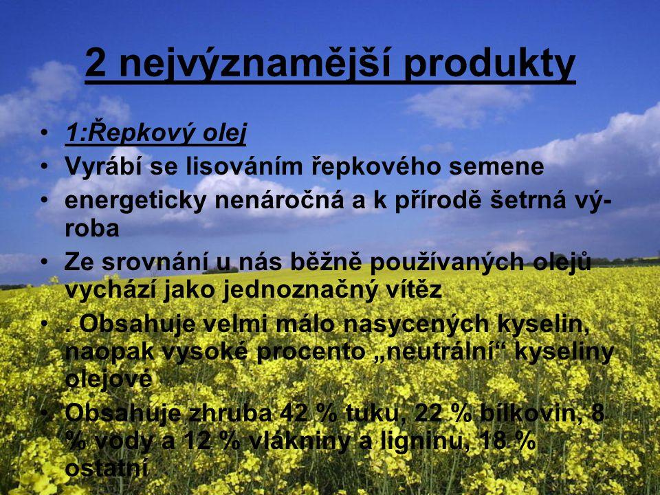 2 nejvýznamější produkty 1:Řepkový olej Vyrábí se lisováním řepkového semene energeticky nenáročná a k přírodě šetrná vý- roba Ze srovnání u nás běžně používaných olejů vychází jako jednoznačný vítěz.