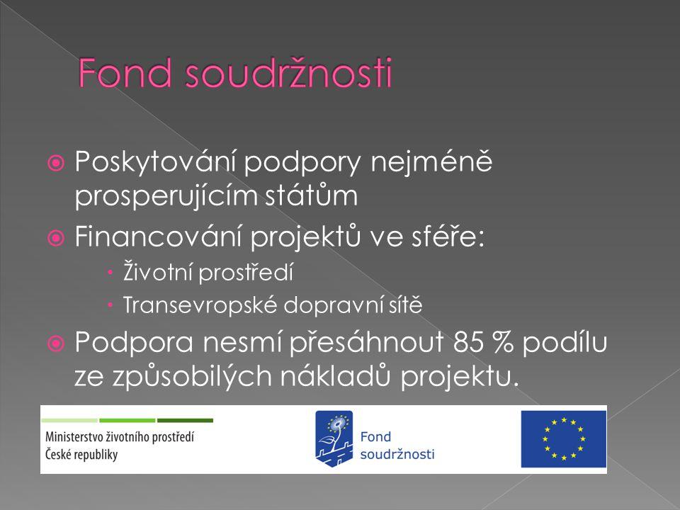  Posiluje hospodářskou a sociální soudržnost  Poskytuje finanční prostředky v rámci 3 cílů regionální politiky: › Konvergence › Regionální konkurenceschopnost a zaměstnanost › Evropská územní spolupráce