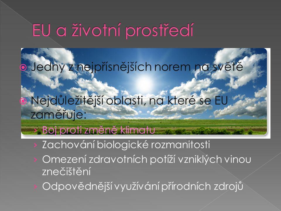  Jedny z nejpřísnějších norem na světě  Nejdůležitější oblasti, na které se EU zaměřuje: › Boj proti změně klimatu › Zachování biologické rozmanitosti › Omezení zdravotních potíží vzniklých vinou znečištění › Odpovědnější využívání přírodních zdrojů