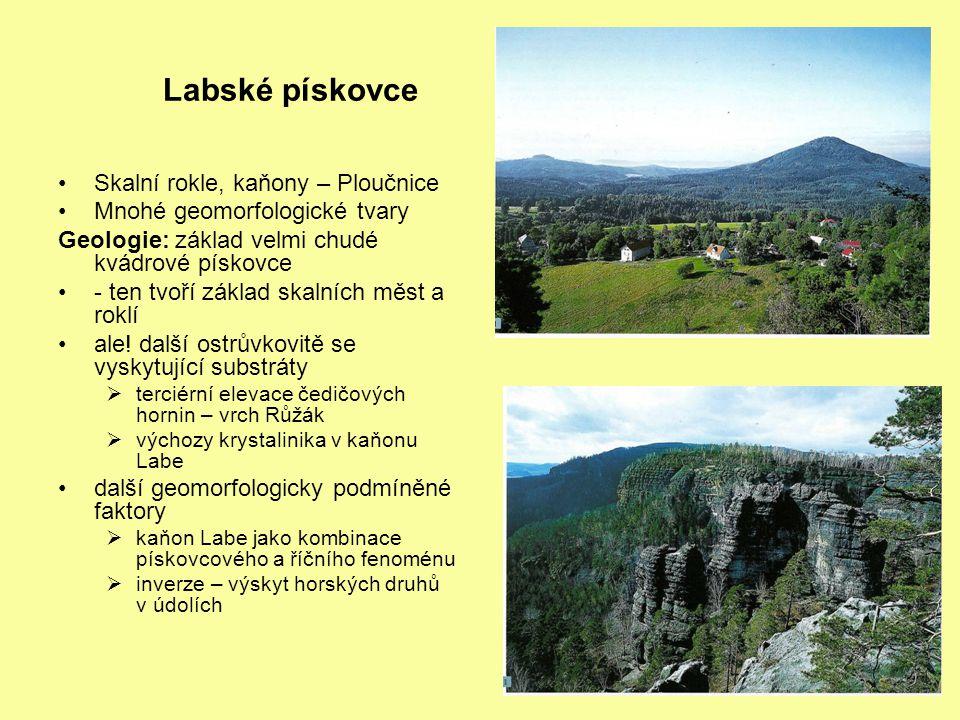Labské pískovce Skalní rokle, kaňony – Ploučnice Mnohé geomorfologické tvary Geologie: základ velmi chudé kvádrové pískovce - ten tvoří základ skalních měst a roklí ale.