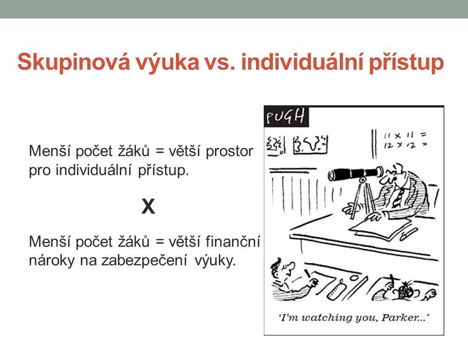 Skupinová výuka vs. individuální přístup Menší počet žáků = větší prostor pro individuální přístup. X Menší počet žáků = větší finanční nároky na zabe