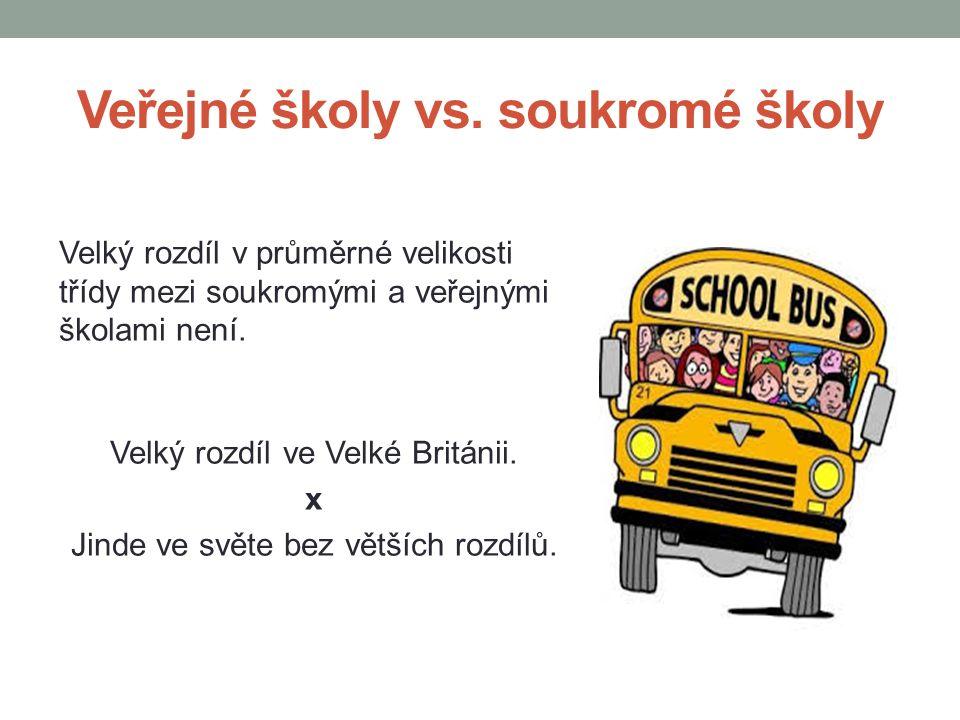 Veřejné školy vs. soukromé školy Velký rozdíl v průměrné velikosti třídy mezi soukromými a veřejnými školami není. Velký rozdíl ve Velké Británii. x J