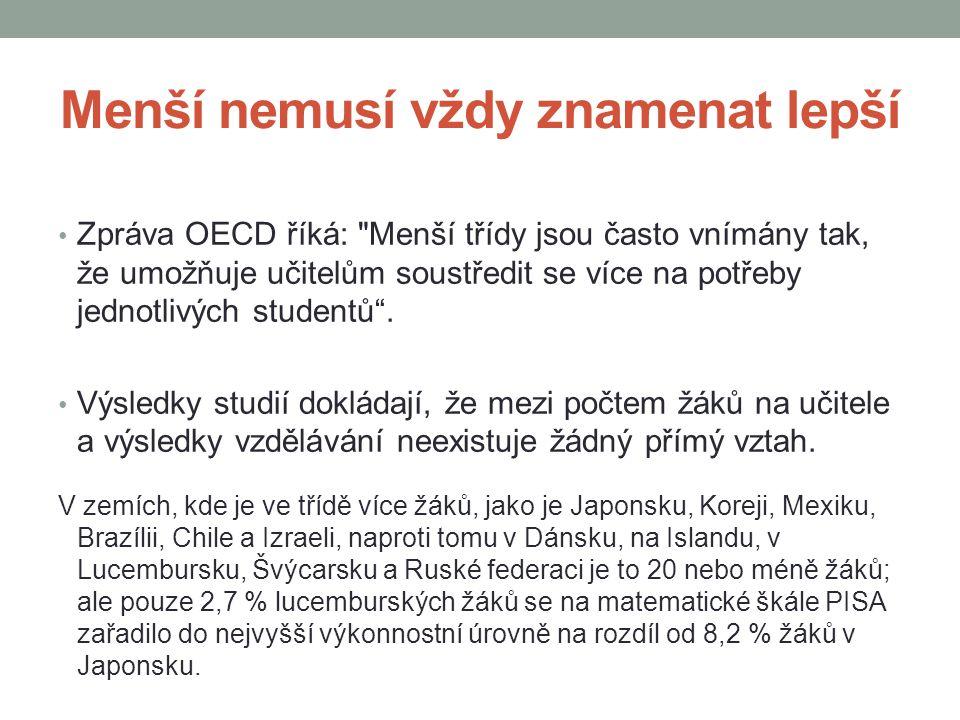 Menší nemusí vždy znamenat lepší Zpráva OECD říká: