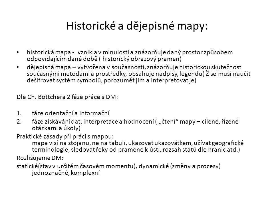 Historické a dějepisné mapy: historická mapa - vznikla v minulosti a znázorňuje daný prostor způsobem odpovídajícím dané době ( historický obrazový pramen) dějepisná mapa – vytvořena v současnosti, znázorňuje historickou skutečnost současnými metodami a prostředky, obsahuje nadpisy, legendu( Ž se musí naučit dešifrovat systém symbolů, porozumět jim a interpretovat je) Dle Ch.
