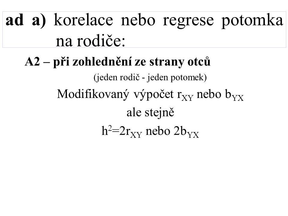 ad a) korelace nebo regrese potomka na rodiče: A2 – při zohlednění ze strany otců (jeden rodič - jeden potomek) Modifikovaný výpočet r XY nebo b YX al