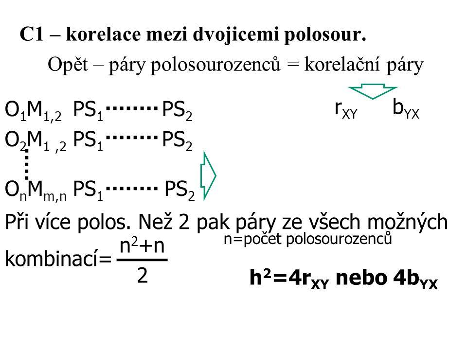 C1 – korelace mezi dvojicemi polosour. Opět – páry polosourozenců = korelační páry O 1 M 1,2 PS 1 PS 2 O 2 M 1,2 PS 1 PS 2 O n M m,n PS 1 PS 2 n 2 +n