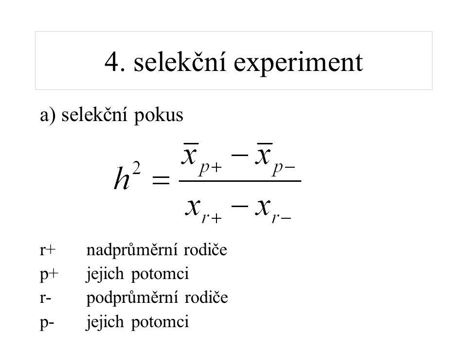 4. selekční experiment a) selekční pokus r+nadprůměrní rodiče p+jejich potomci r-podprůměrní rodiče p-jejich potomci