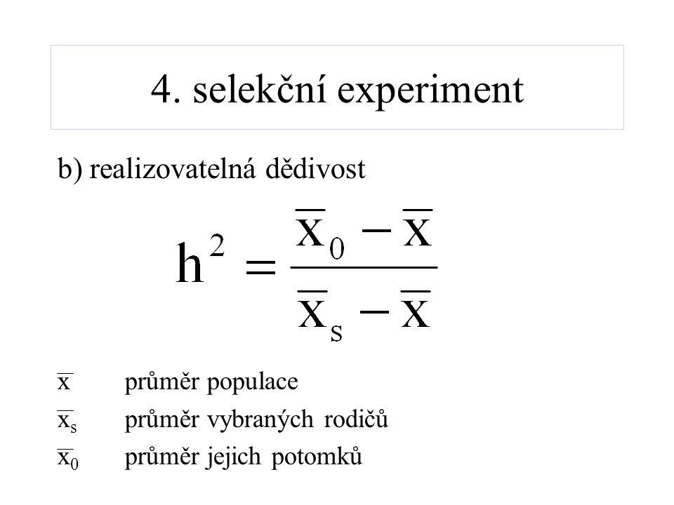 4. selekční experiment b) realizovatelná dědivost xprůměr populace x s průměr vybraných rodičů x 0 průměr jejich potomků