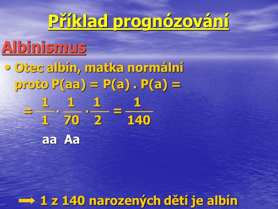 Příklad prognózování Otec albín, matka normální Otec albín, matka normální proto P(aa) = P(a). P(a) = Albinismus 1 1 1 1 1 1 1 1 1 70 2 140 1 70 2 140