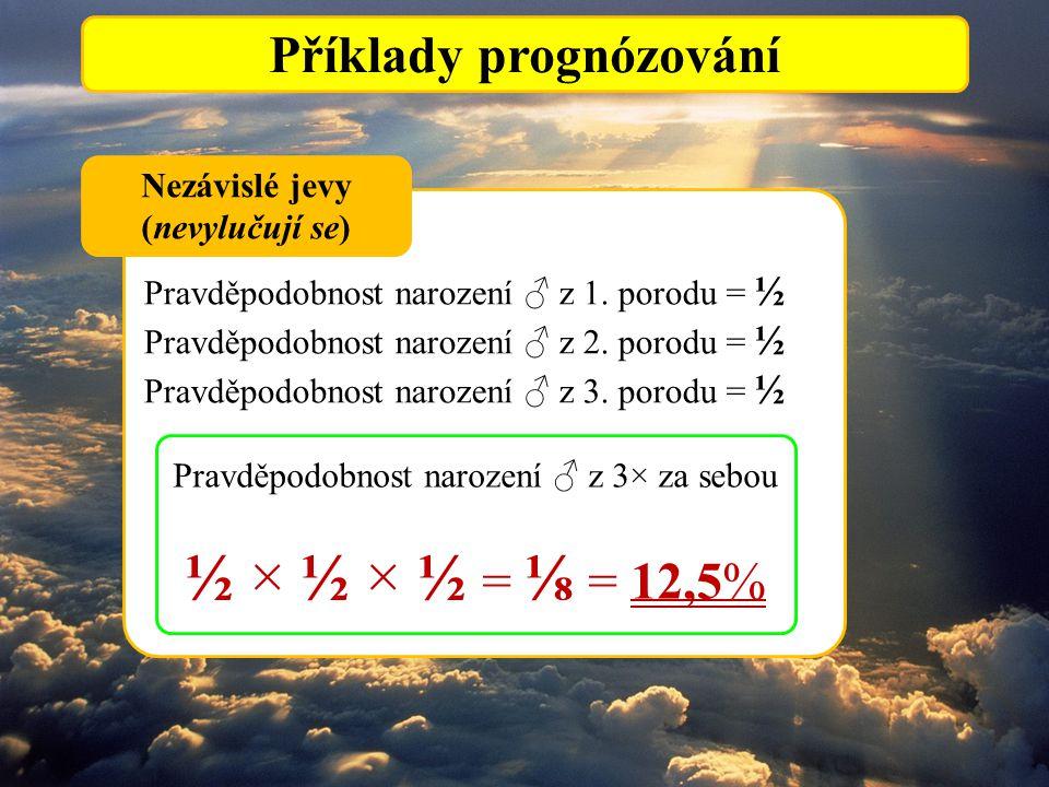 Příklady prognózování Pravděpodobnost narození ♂ z 1. porodu = ½ Pravděpodobnost narození ♂ z 2. porodu = ½ Pravděpodobnost narození ♂ z 3. porodu = ½