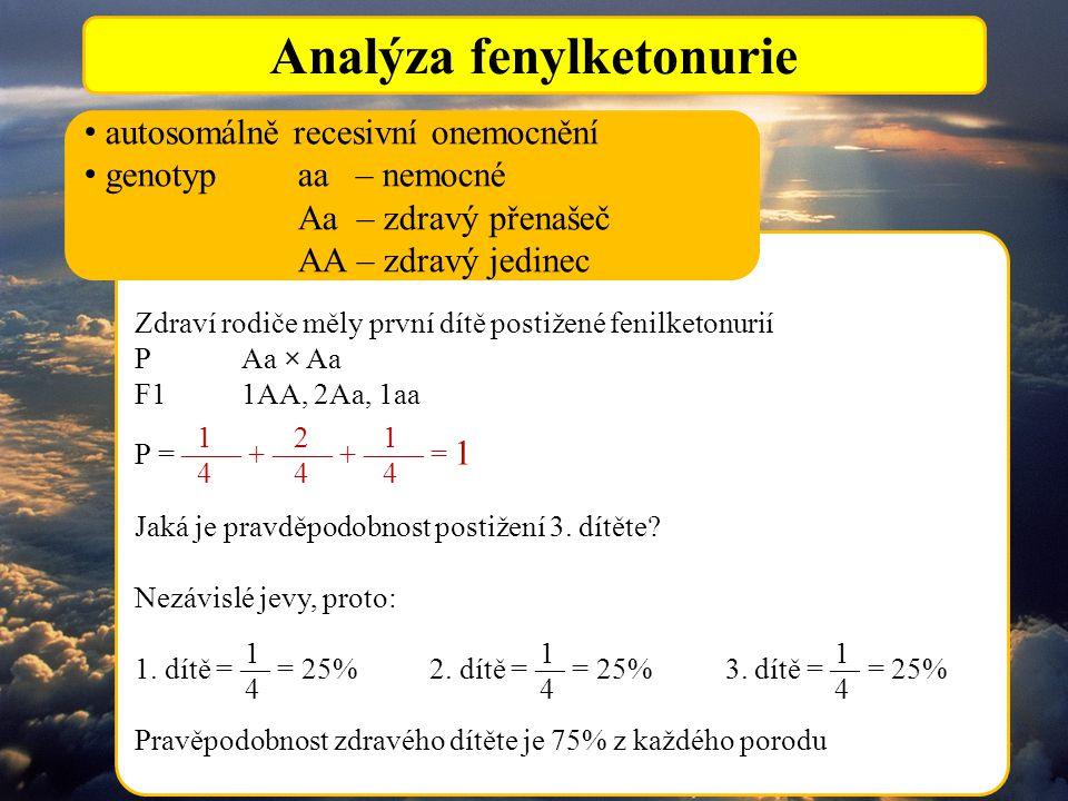 Analýza fenylketonurie Zdraví rodiče měly první dítě postižené fenilketonurií PAa × Aa F11AA, 2Aa, 1aa P = —— + —— + —— = 1 Jaká je pravděpodobnost postižení 3.