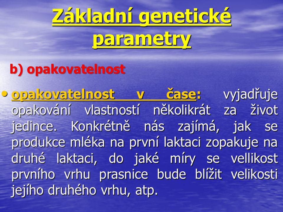 Základní genetické parametry b) opakovatelnost opakovatelnost v čase: vyjadřuje opakování vlastností několikrát za život jedince. Konkrétně nás zajímá