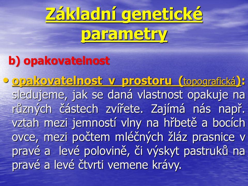 Základní genetické parametry b) opakovatelnost opakovatelnost v prostoru ( topografická ): sledujeme, jak se daná vlastnost opakuje na různých částech