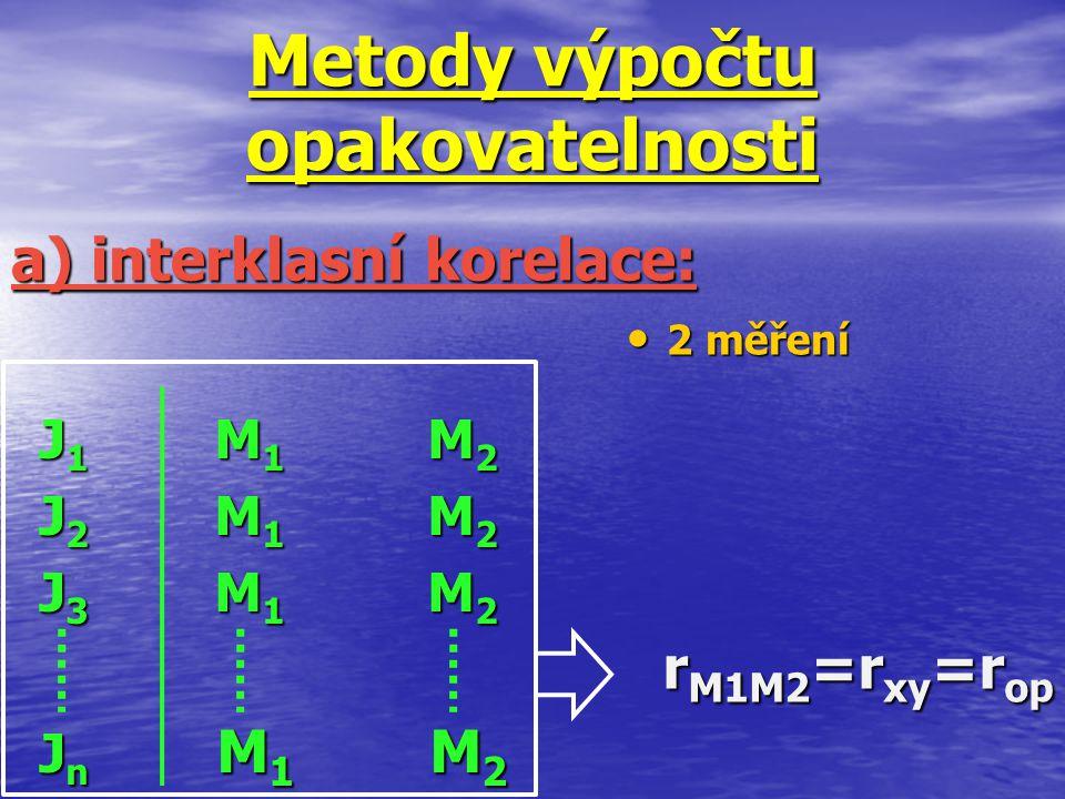 Metody výpočtu opakovatelnosti J1 M1 M2J1 M1 M2J2 M1 M2J2 M1 M2J3 M1 M2J3 M1 M2Jn M1 M2Jn M1 M2J1 M1 M2J1 M1 M2J2 M1 M2J2 M1 M2J3 M1 M2J3 M1 M2Jn M1 M