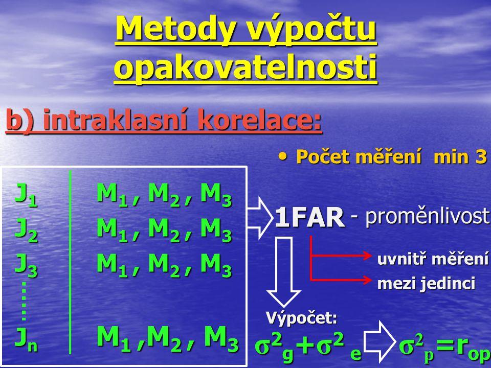1FAR Metody výpočtu opakovatelnosti J 1 M 1, M 2, M 3 J 2 M 1, M 2, M 3 J 3 M 1, M 2, M 3 J n M 1,M 2, M 3 b) intraklasní korelace: Počet měření min 3