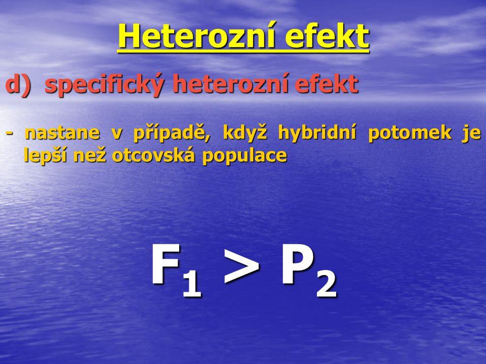 Heterozní efekt - nastane v případě, když hybridní potomek je lepší než otcovská populace F 1 > P 2 d)specifický heterozní efekt