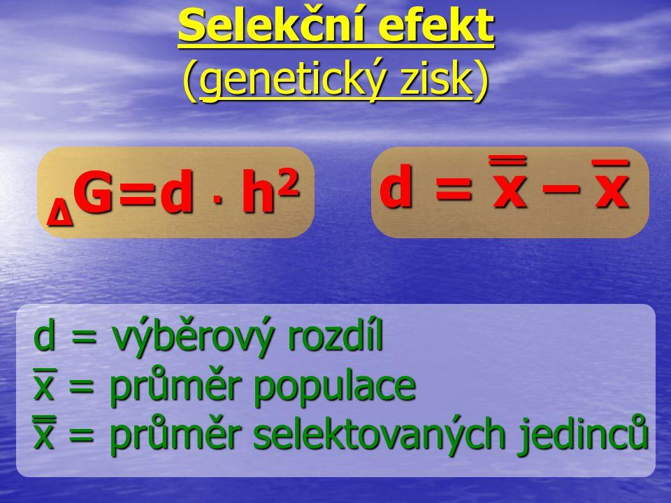 d = x – x Selekční efekt (genetický zisk) Δ G=d. h 2 d = výběrový rozdíl x = průměr populace x = průměr selektovaných jedinců ̅ ̿ ̅ ̿