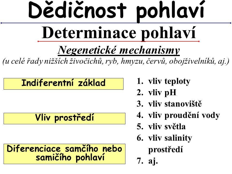 Determinace pohlaví Dědičnost pohlaví Negenetické mechanismy (u celé řady nižších živočichů, ryb, hmyzu, červů, obojživelníků, aj.) 1.vliv teploty 2.v