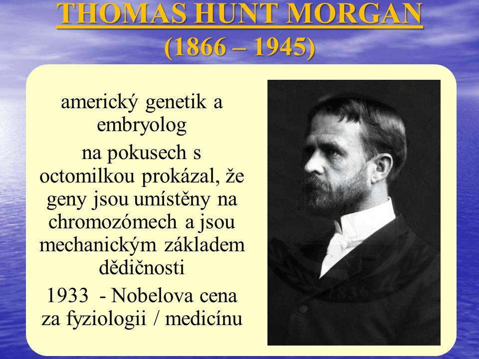THOMAS HUNT MORGAN (1866 – 1945) americký genetik a embryolog na pokusech s octomilkou prokázal, že geny jsou umístěny na chromozómech a jsou mechanic