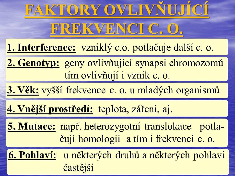 FAKTORY OVLIVŇUJÍCÍ FREKVENCI C. O. 1. Interference: vzniklý c.o. potlačuje další c. o. 2. Genotyp: geny ovlivňující synapsi chromozomů tím ovlivňují