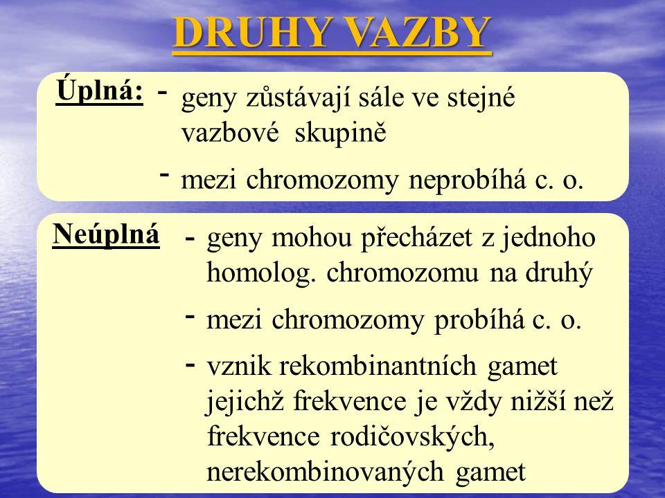 DRUHY VAZBY geny zůstávají sále ve stejné vazbové skupině mezi chromozomy neprobíhá c. o. Úplná: - - geny mohou přecházet z jednoho homolog. chromozom