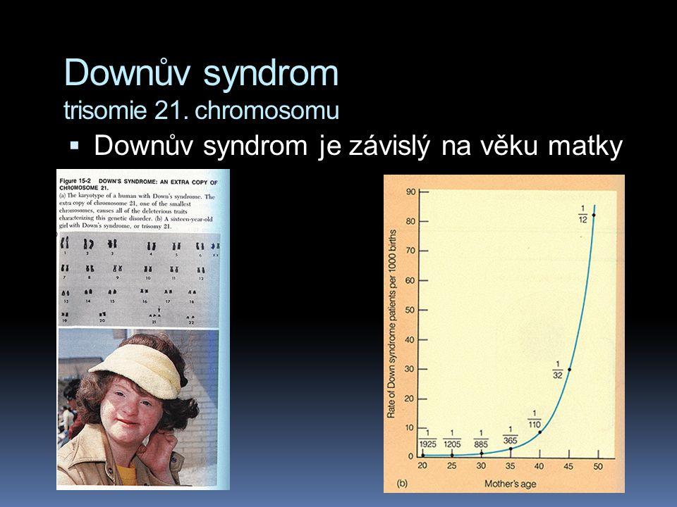 Downův syndrom trisomie 21. chromosomu V některých případech mají lidé s Downovým syndromem obvyklých 46 chromosomů. Výzkum karyotypu však prozradí, ž