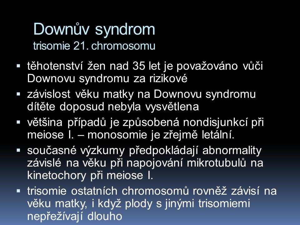 Downův syndrom trisomie 21. chromosomu  Downův syndrom je závislý na věku matky