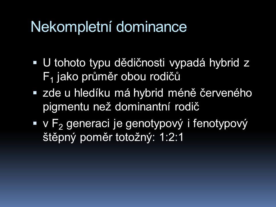 Rozšíření Mendelových výzkumů  Mendel díky své genialitě (nebo štěstí či spíše dokonalé znalosti hrachu) si vybral 7 znaků, u nichž je kompletní domi