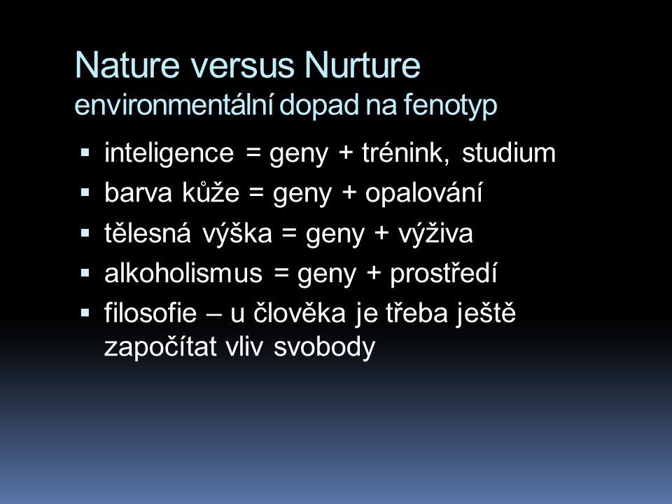 Nature versus Nurture environmentální dopad na fenotyp  u člověka ovlivňuje výživa tělesnou výšku, opalování barvu kůže, posilování svalovou hmotu at