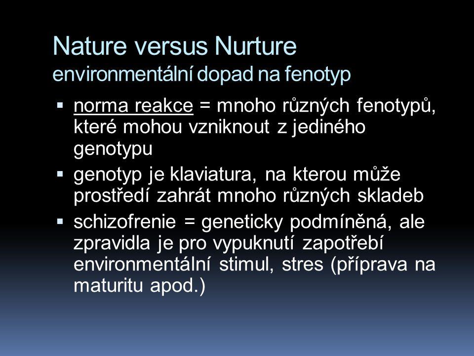 Nature versus Nurture environmentální dopad na fenotyp  inteligence = geny + trénink, studium  barva kůže = geny + opalování  tělesná výška = geny