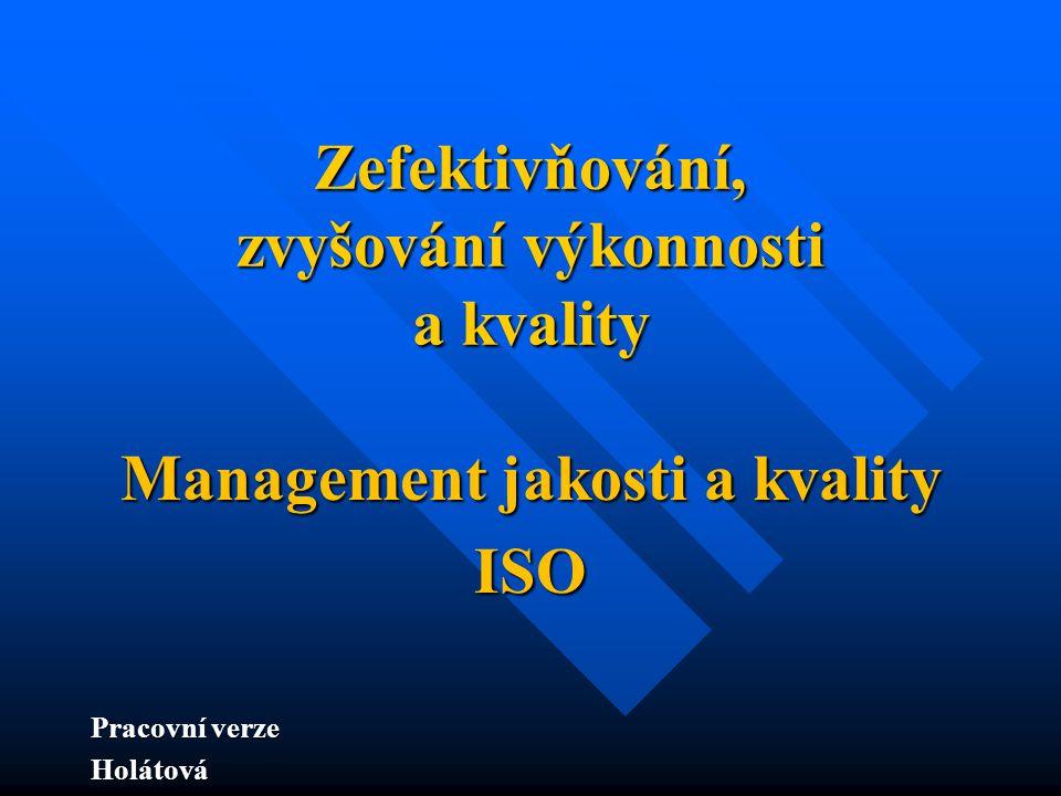 Zefektivňování, zvyšování výkonnosti a kvality Management jakosti a kvality ISO Pracovní verze Holátová