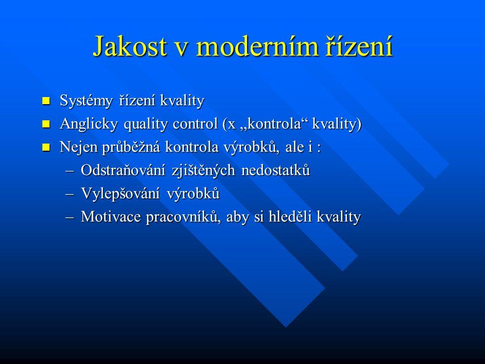 """Jakost v moderním řízení Systémy řízení kvality Systémy řízení kvality Anglicky quality control (x """"kontrola"""" kvality) Anglicky quality control (x """"ko"""